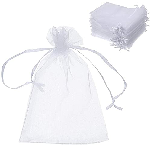 Yililay 100 Stuks Organza Zak van de Gift, Koord Bag, Candy Bag, Wedding Party Supplies (wit)