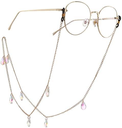HaoLi Cadena para Gafas 70 cm de Largo Perlas de Cristal en Forma de lágrima Gafas con Cuentas Gafas Gafas de Sol Gafas Porta Cadena Gafas Cuerda (Color: Gold, Size: 70cm)
