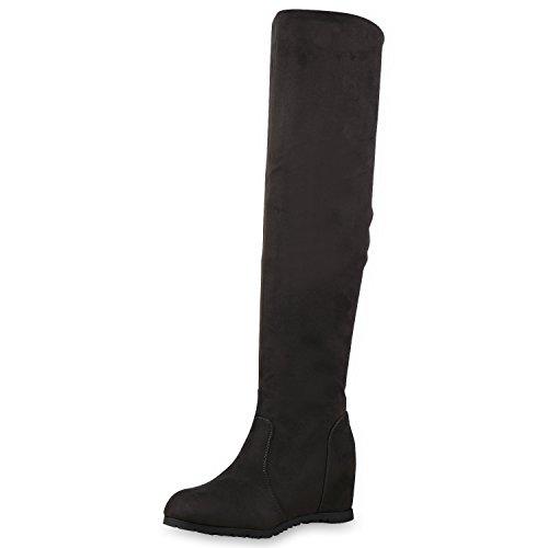 SCARPE VITA Damen Stiefel Keilabsatz Overknees Wedges Boots Schuhe 127548 Dunkelgrau 36