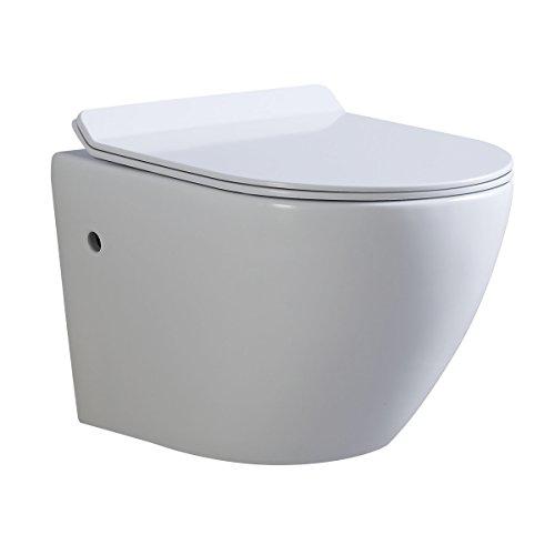 Inodoros suspendidos de cerámica sin borda, Función Soft-Close, Color blanco - Cisterna no incluida (Franco)