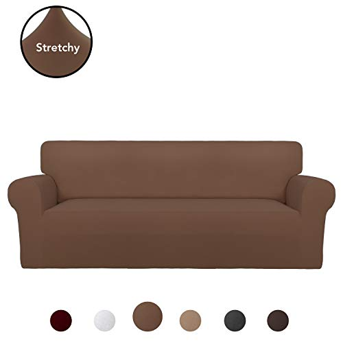 PureFit Super Stretch Sofa Slipcover – Spandex Non Slip Soft Couch Sofa Cover, Washable Furniture Protector with Non Skid Foam and Elastic Bottom for Kids, Pets (Sofa, Brown)