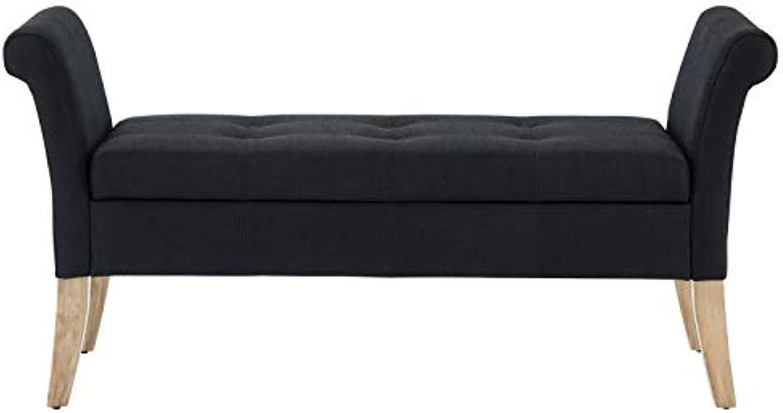 Estonia Modern Fabric Upholstered & Wood Storage Bench in Black