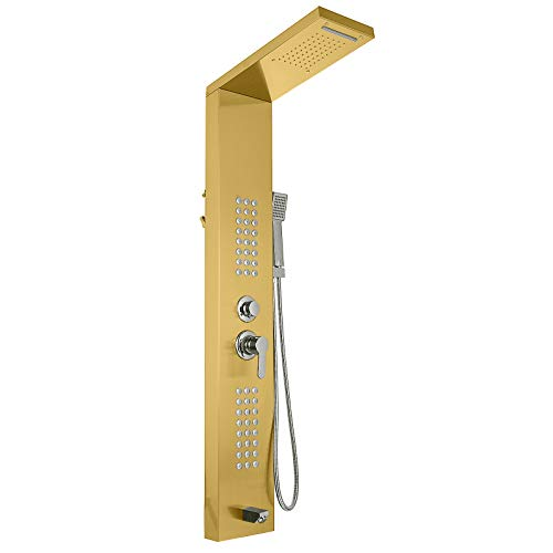 Happybuy 5 in1 Shower Panel Tower System Gold Stainless Steel Multi-Function Shower Panel with Spout Rainfall Waterfall Massage Jets Tub Spout Hand Shower for Home Hotel Resort Split Type Split