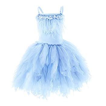 IBTOM CASTLE Little/Big Girls Sequins Feather Fringes Layered Ruffled Flower Girl Birthday Party Easter Pageant Tutu Dress Short Tiered Gown Light Blue 3-4 Years
