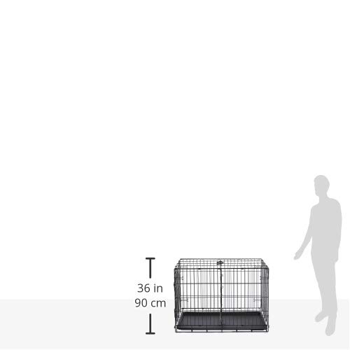 AmazonBasics Single Door Folding Metal Cage Crate For Dog or Puppy - 36 x 23 x 25 Inches