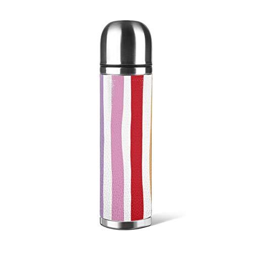 Botella de agua de acero inoxidable con diseño de rayas abstractas de arcoíris de colores modernos, diseño minimalista multicolor, 4470 wpsus, aislado de piel al vacío, a prueba de fugas, contenedor de viaje de doble pared, termo de 500 ml