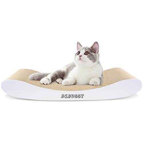 Aibuddy tiragraffi per gatti, curva, letto in cartone reversibile con erba gatta biologica [44 x 25 x 7 cm, cartone e costruzione superiori]