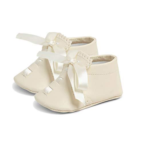Baby Schuhe – Erste Wanderschuhe, Taufe, Weiche Sohle, Synthetischer Stoff, Bandverschluss, Kinderwagenschuhe, Anlass Kleidung, Unisex, Muscheleinfassungdetaillierung - Creme, EU 16