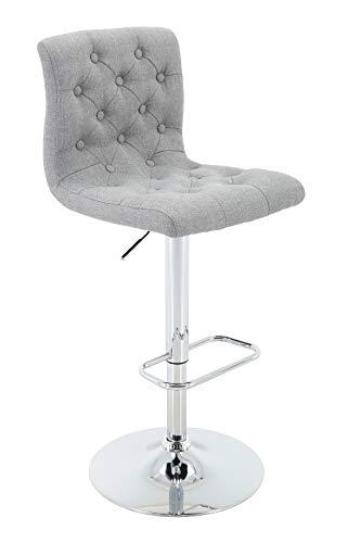 Brage Living Adjustable Height Bar Stool Tufted Upholstered Barstool with Footrest, Light Grey