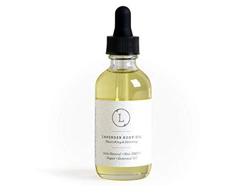Body Oil, Lavender Moisturizing Nourishing and Reviving Bath Oil for Silky Skin, 2 oz Pampering Body Oil for Women, Natural, Vegan and Non GMO, Premium Oils Handmade by Lizush.