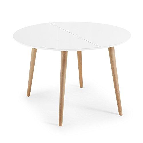 Kave Home - Mesa de Comedor Extensible Oqui Redonda 120 (200) x 120 cm Blanca de melamina y Patas de Madera de Haya
