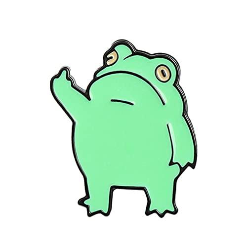 BULABULA Frick Frog - Pin de enamel suave animal, diseño de dibujos animados con dedos intermedios, decoración para bolsos (1,1 x 0,9 pulgadas)