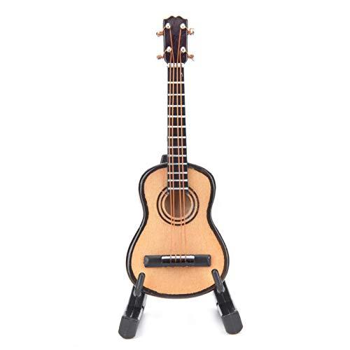 Cerlingwee Modelo de Guitarra clásica, Superficie Brillante, procesamiento Pintado, Guitarra en Miniatura para estantería, Escritorio, Mesa, Sala de música(Wood Color 8cm)