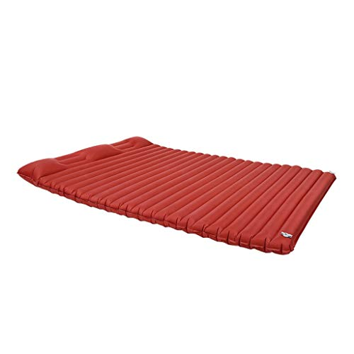Sleeping Mats Hiking Air Mattress -Lightweight Double Sleep Mat With Pillows Camping Sleeping Air Pad For Backpacking Traveling 2 Colors (Color : Red)