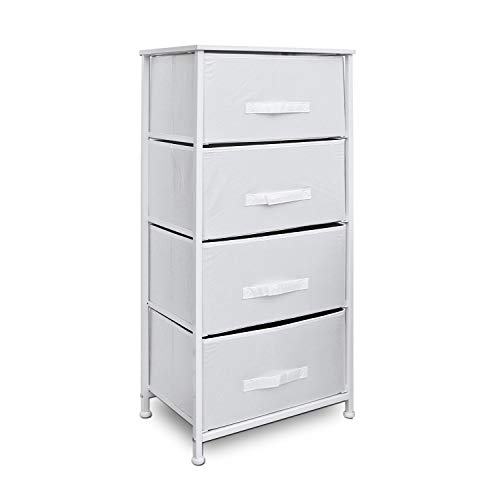 Clarisworld Drawers Storage Tower Dresser - Wood Top, Sturdy Steel Frame, Organizer Unit for Bedroom, Hallway, Entryway, Closets – Laminated Fabric (White -4 Drawers)