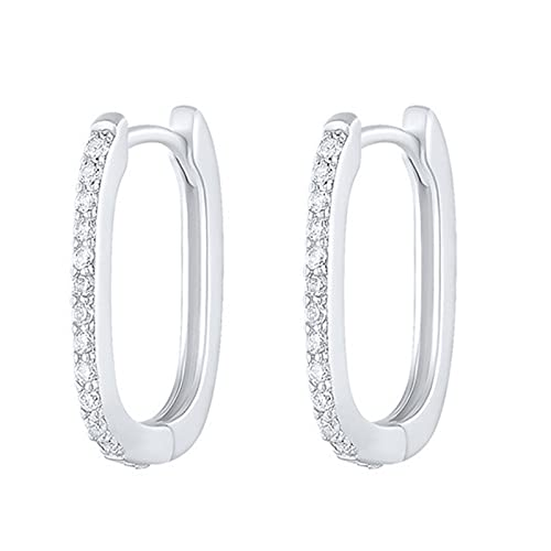 MHXQD Silver Hoops Earrings for Women, 925 Sterling Silver Small Hoop Earrings with Cubic Zirconia, Hypoallergenic Hoop Sleeper Earrings Huggie Hinged Earrings,A