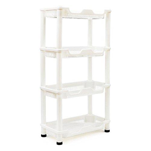 Adoraland Standregal Küche Badregal Kunststoff Weiss aus Plastik Küchenregal Rollen