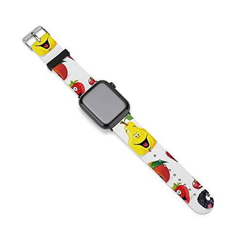 Fruit Watch Band Correa de silicona para Apple Watch, adecuado para mujeres y parejas, longitud ajustable, 42mm/44mm,