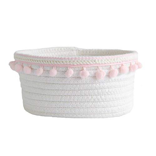 Cesta de almacenamiento de cuerda de algodón, pequeña cesta trenzada con bola para el pelo, para guardar objetos pequeños y cosméticos, color rosa