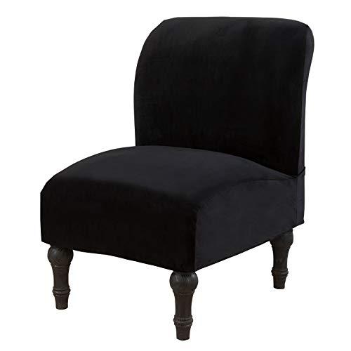 Mingfuxin Fundas para silla sin brazos, fundas elásticas para sofá, fundas extraíbles y lavables para muebles para el hogar y el hotel (terciopelo | negro)