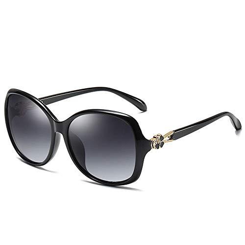 JOMSK Gafas de Sol Retro clásicas para Mujer De Las Mujeres Gafas De Sol Polarizadas del Trébol Perla Pasta De Conducción Gafas De Sol De Compras (Color : Black, Size : One Size)