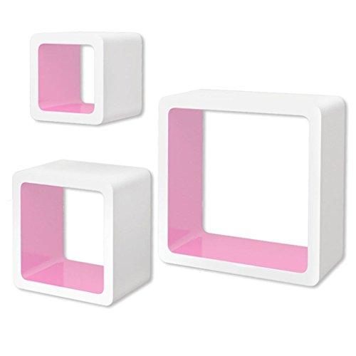 vidaXL 3 Etagères Cubes murales en MDF Blanc-Rose Stockage Rangement pour Livres/DVD