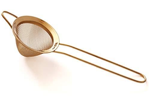 Teesieb - 7cm Konisches Feinmaschig Sieb für Tee und Cocktails - Premium 304 Rostfreier Edelstahl Edelstahl – Goldfarbe, Tee- und Barsieb von Proto Future