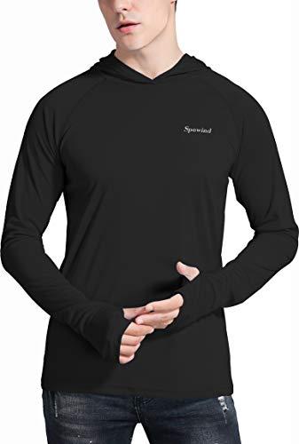 Spowind Herren UPF 50+ Sonnenschutz Hoodie Shirts Langarm LSF Performance Angeln T-Shirt mit Daumenloch Schwarz