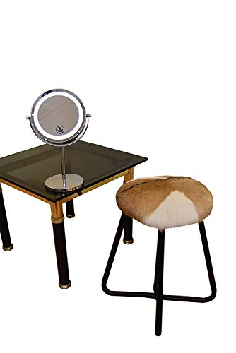 Zerimar lederen en stalen kruk en spiegel make-uppakket met led-licht Dubbelzijdig met vergroting x1 x3