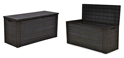 Jelenia Plast 2X Gartenkissenbox Holzoptik Gartentruhe Auflagenbox Kissenbox Aufbewahrungsbox