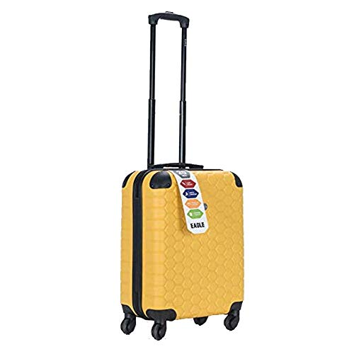 Hard Shell Case ABS Travel Luggage Suitcase 4 Wheel Spinner Trolley Baggage Bag Combination Lock 4 Corner Swivel Wheeled (Cabin 50x40x20cm, 37L, 2.9 KG, Mustard)