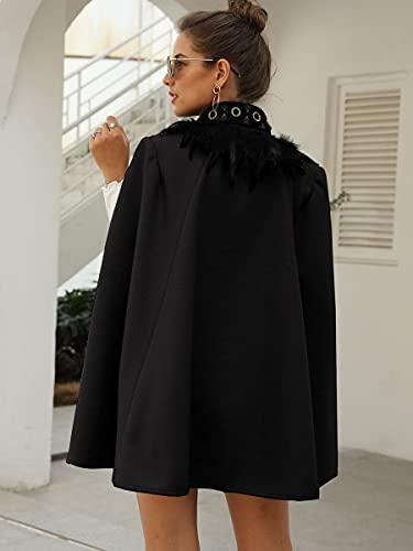 QXLG Mantel Kontrastfeder Gabardine Cape Mantel Mode Mode (Color : Black, Size : S)