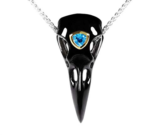 Skullis Black Obsidian Carved Crystal Raven Skull Pendant with Blue Sky Topaz and 925 Sterling Silver Chain, for Men and Women, Crystal Skull Jewelry.