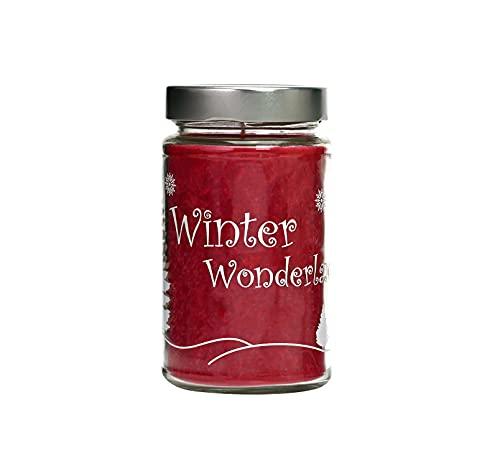 Candle Factory Vela aromática estampada 'Winterwonderland' de estearina vegetal en gran vaso decorativo, aprox. 60 horas de combustión, aroma de canela