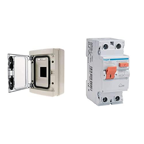 Bematik Caja De Distribución Eléctrica De 4 Módulos De Superficie De Plástico Abs SPN Ip65 Ha + Hager Cd748V Interruptor Diferencial Tipo AC, 2P, 40A