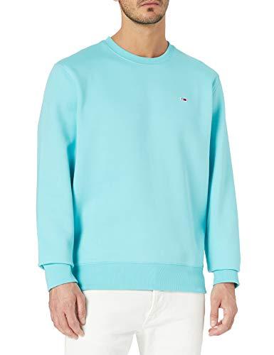 Tommy Jeans TJM Regular Fleece C Neck Suéter, Azul cloro, XL para Hombre