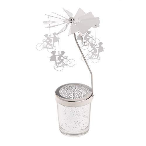 Wanfor Drehbarer Teelichthalter Sternenhimmel aus Metall Karussell Kerzenständer Heimdekoration Geschenke, 9 Muster, silber, Boy and Girl
