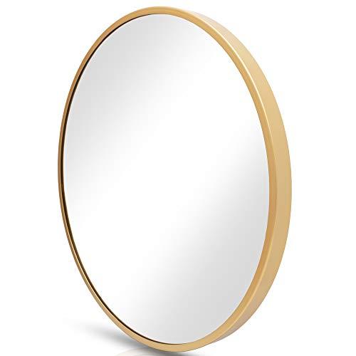 HF Home Feeling Premium Spiegel Rund - vielseitig Einsetzbar Dank schönem Design - Eleganter runder Spiegel mit einfache Montage - Wandspiegel Rund (Gold, 60 cm)