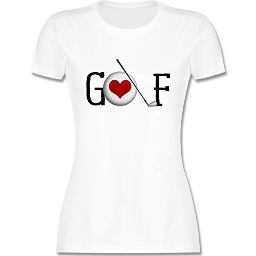 Golf - Golf Herz Schriftzug - XL - Weiß - Herz - L191 - Tailliertes Tshirt für Damen und Frauen T-Shirt