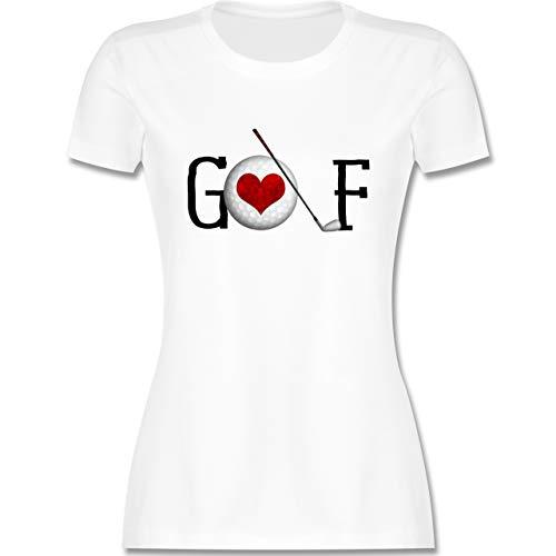 Golf - Golf Herz Schriftzug - S - Weiß - golfschläger Damen - L191 - Tailliertes Tshirt für Damen und Frauen T-Shirt
