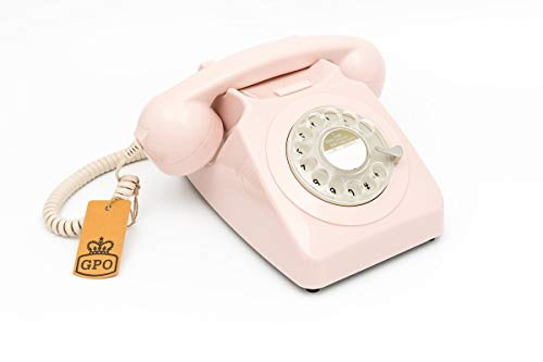 GPO 746ROTARYPINK Retro Telefon mit Wählscheibe im 70er Jahre Design Pink- Nelke Rosa