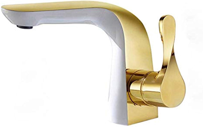 MONFS Home Wasserhhne gemaltes WeiGold-Becken-Kupfer-heies und kaltes Wasserhahn-Handwaschbecken unter Gegenbecken-Hahn