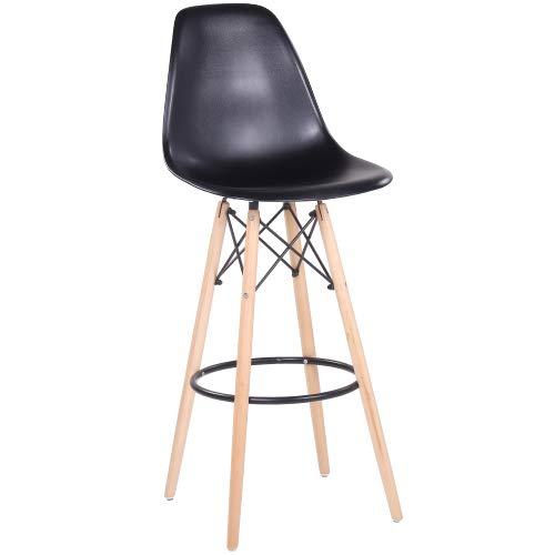 Designer Barhocker Barstuhl Hochstuhl Mila mit Sitzschale aus Kunststoff in schwarz