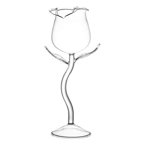 BLEUNUIT Copa de Vasos, Copa de Vino Tinto Elegante, Copas de cóctel de Vino, Copa de Vino con Forma de Flor Rosa de 100 ml, Copa de Vino P