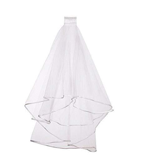 Merkts Velo de novia blanco de 2 capas con peine para el pelo, despedida de soltero, velo de novia, accesorios para despedida de soltera