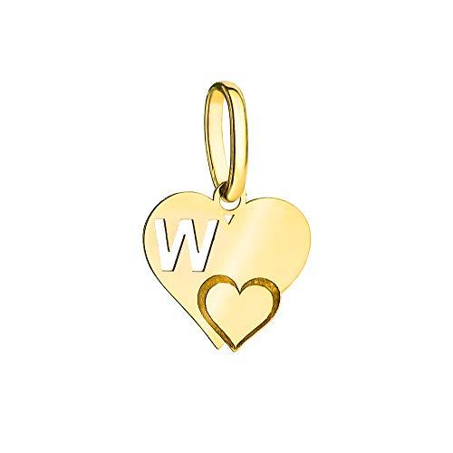 Colgante de mujer con letra en forma de corazón Zlocisto Muestra de oro amarillo 585, ancho 10 mm, altura con lazo 15 mm, peso 0,35 g Joyas de oro elegantes en una caja de alta calidad
