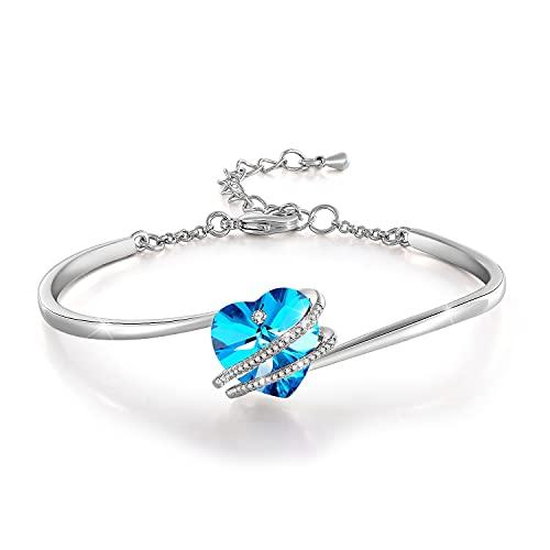 GEORGE · SMITH ❤️Liebe Geschichte❤️ Herz Armreif Armbänder Silber Armband für Damen mit Rosa Blauen Kristall, Geburtstag Geschenk für Damen Mama- mit Schmuckkästchen