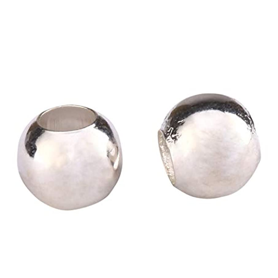 10pcs Sterling Silver 6mm Seamless Smooth Spacer Beads (Large Hole ~ 2.8mm) for Jewelry Craft Making Findings SS200