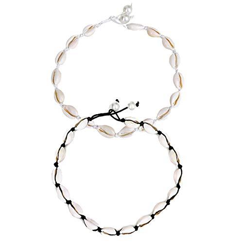 Meetlight - Gargantilla para mujer con perla blanca y negra, 2 unidades