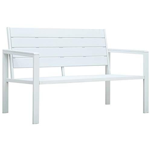 Festnight Banc de Jardin Banc Exterieur 120 cm PEHD Blanc Aspect de Bois